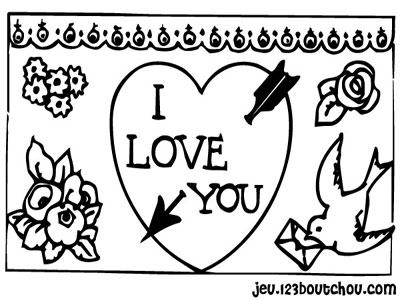 Saint valentin en coloriage