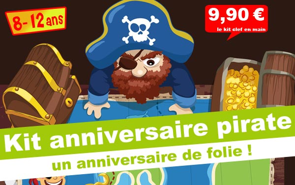 kit anniversaire kolat le pirate chasseur de tr sor 8 12 ans maxi. Black Bedroom Furniture Sets. Home Design Ideas